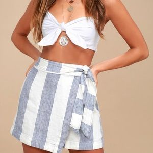 Free People Linen Striped Wrap Skirt 6